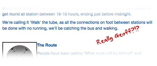 Snapshot of Geoff's #walkthetube website
