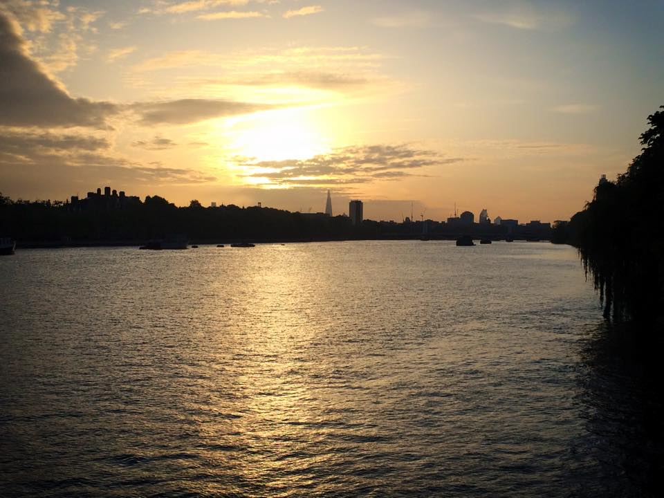 Sun rise over London skyline