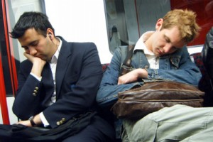 People asleep on the tube