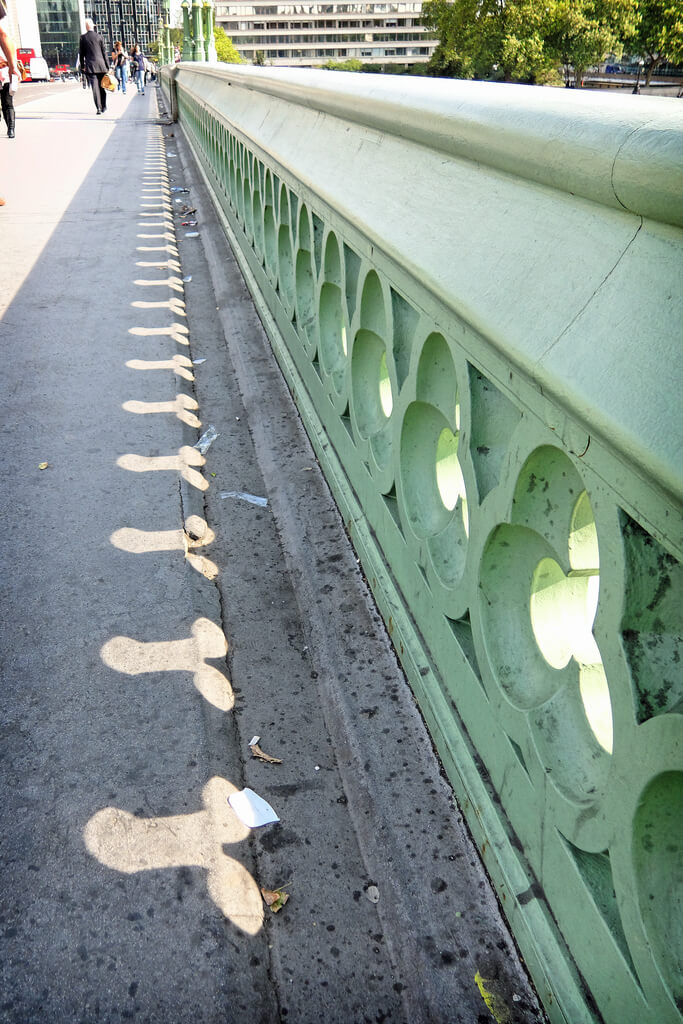 Phallic shadows on Westminster Bridge